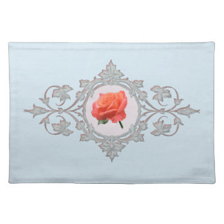 Rose in Ornate Vintage Circular Frame Placemat