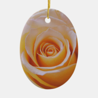 Rose in Yellow Ceramic Oval Ornament