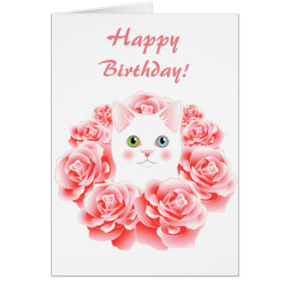 Rose Kitty Cat Cute Birthday Card