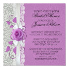 Rose Lace Silver/Purple Damask Shower Invite