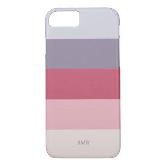 Rose Lavender Purple Pink Striped Monogram Case