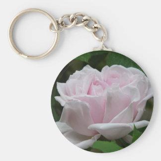 rose,light pink basic round button keychain