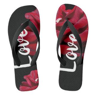 Rose love flip flops
