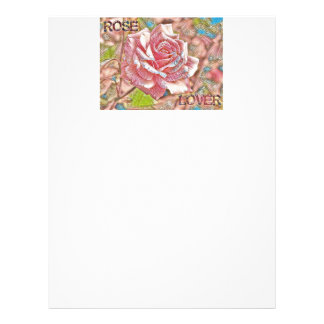 """""""Rose Lover"""" Digital Pink Flower Painting Personalized Letterhead"""