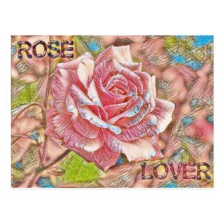 """Rose Lover"" Digital Pink Flower Painting Postcard"