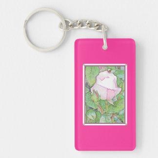 Rose Lovers Key Chain. Pink. Single-Sided Rectangular Acrylic Keychain