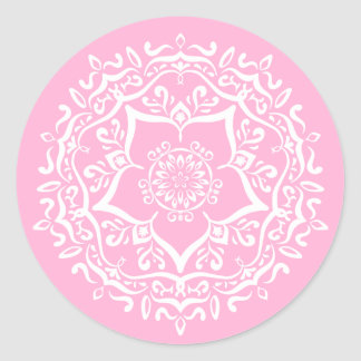Rose Mandala Classic Round Sticker
