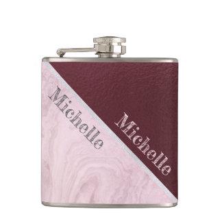 Rose Marble And Burgundy Custom Hip Flask