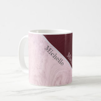 Rose Marble Burgundy And Name Coffee Mug