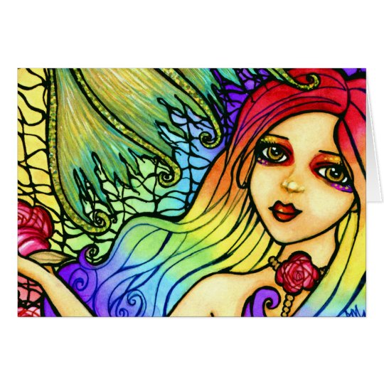Rose Mermaid Pretty Rainbow Blank Note Card
