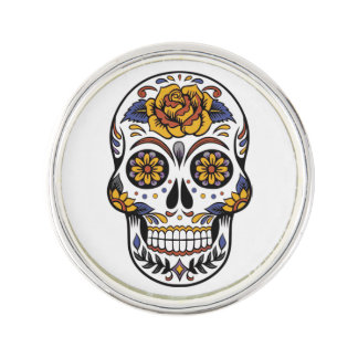 Rose Mexican Sugar Skull Day of the Dead Lapel Pin
