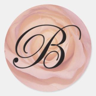 Rose monogram B Classic Round Sticker