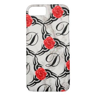 Rose Monogram Marble Print Custom Cell Phone Case