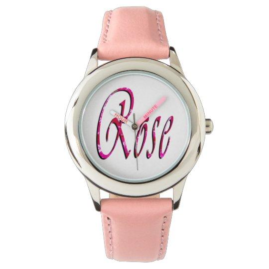 Rose, Name, Logo, Girls Pink Leather Watch. Wrist Watch