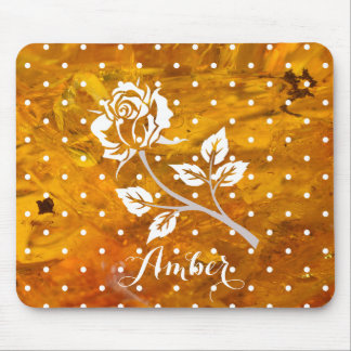 Rose on amber background mouse pad