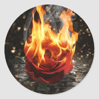 Rose On Fire, Burning Rose Round Sticker