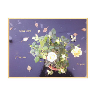 Rose on Glass Table with Loving Wishes Canvas Print