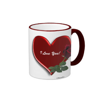Rose On Hearts 4A Ringer Coffee Mug