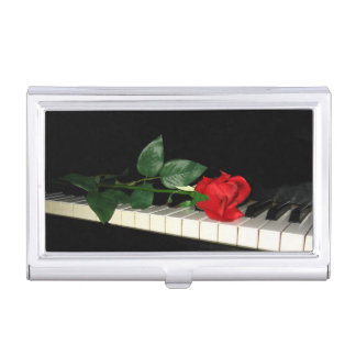 Rose on Piano Keys Business Card Case