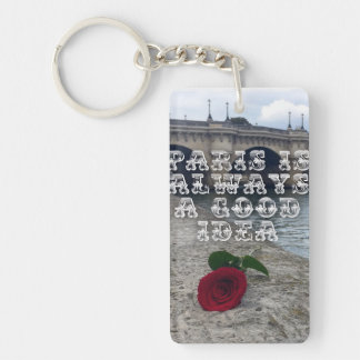 Rose on the iconic seine river in paris keychain
