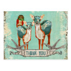 Rose Owl & Azure Deer Thank You   Postcard