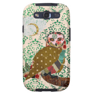 Rose Owl Green Damask Case Galaxy SIII Covers