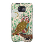 Rose Owl Green Damask Case Samsung Galaxy Cover