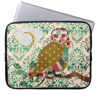 Rose Owl Green Damask Computer Sleeve