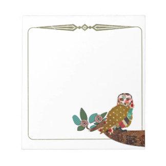 Rose Owl Notepad