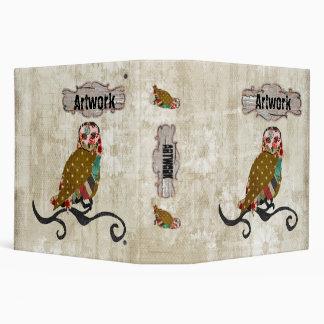 Rose Owl White Vintage Artwork Portfolio Vinyl Binders