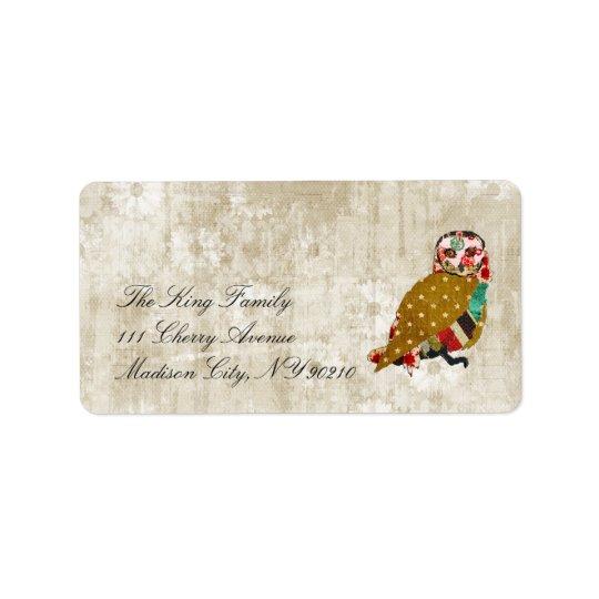 Rose Owl Whitewash Floral Vintage  Label