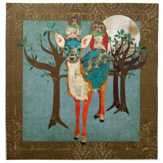 Rose Owls & Azure Deer Full Moon Napkin