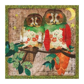 Rose Owls Moonlight Canvas Print