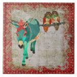 Rose Owls & Ruby Azure Donkey Tile