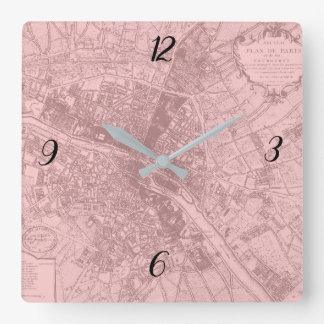 Rose Paris Square Wall Clock