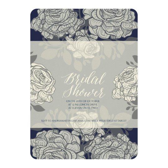 Rose Pattern Print Bridal Shower Invitation