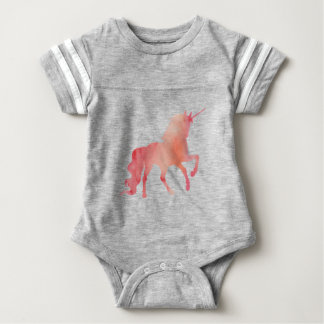 ROSE PEACH WATERCOLOR UNICORN WITH CLOUDS BABY BODYSUIT