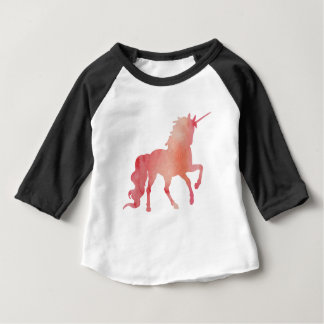 ROSE PEACH WATERCOLOR UNICORN WITH CLOUDS BABY T-Shirt
