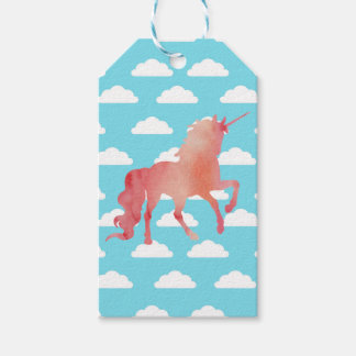 ROSE PEACH WATERCOLOR UNICORN WITH CLOUDS GIFT TAGS