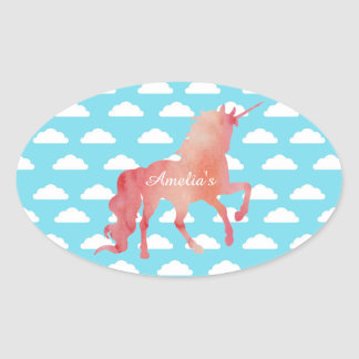 ROSE PEACH WATERCOLOR UNICORN WITH CLOUDS OVAL STICKER