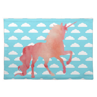 ROSE PEACH WATERCOLOR UNICORN WITH CLOUDS PLACEMAT