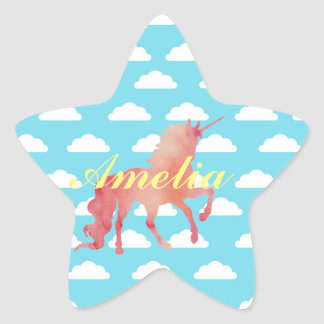 ROSE PEACH WATERCOLOR UNICORN WITH CLOUDS STAR STICKER