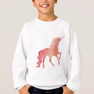 ROSE PEACH WATERCOLOR UNICORN WITH CLOUDS SWEATSHIRT