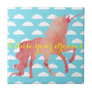 ROSE PEACH WATERCOLOR UNICORN WITH CLOUDS TILE