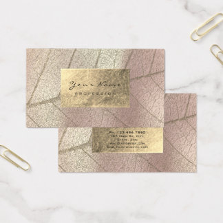 Rose Pearly Sepia Gold Foil Botanical Delicate Business Card