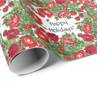 Rose Peony Flowers Floral Holidays Wrapping Paper