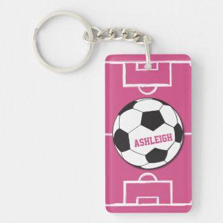 Rose personnalisé de ballon de football et de porte-clefs