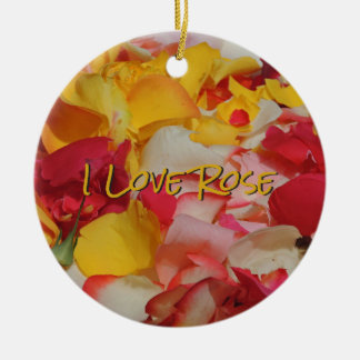 Rose Petals in Cuenca Round Ceramic Ornament