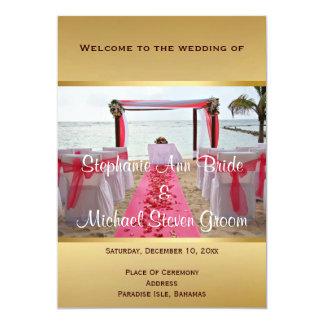 Rose Petals On The Red Carpet Wedding Program Card