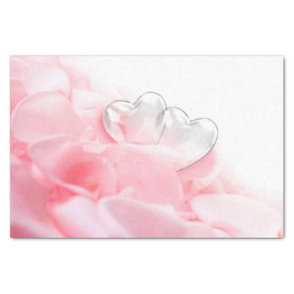 Rose Petals with Glass Hearts - Tissue Paper